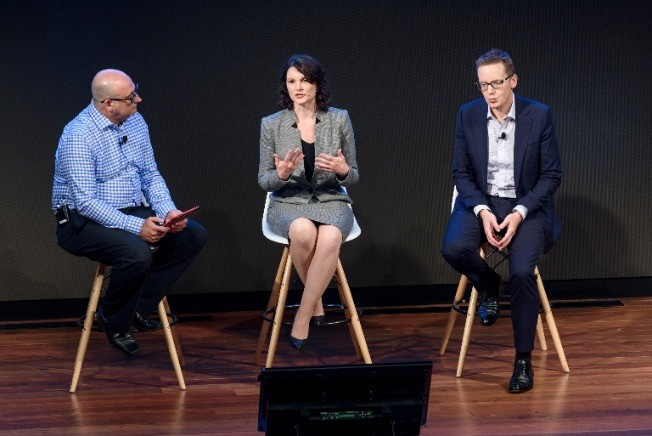 Deborah Holtham, Consultant at DXC Technology, leading the debate at a Telstra Wholesale customer event