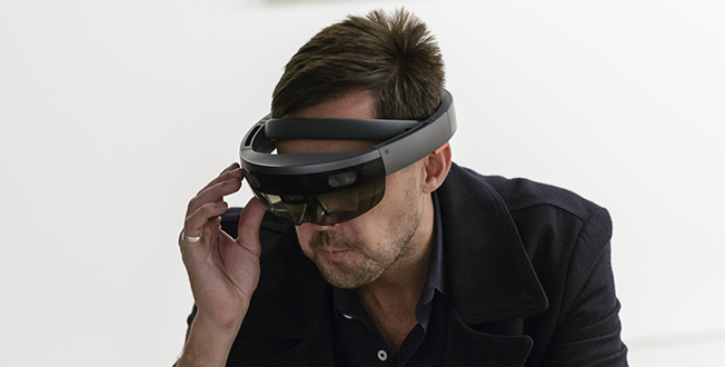 Man using VR device